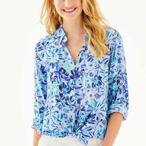 Lilly Pulitzer Sea View Button Down Top XXS